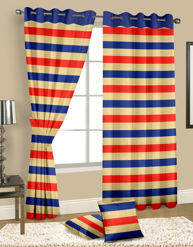 Multicolor H-Line Pattern Cotton Curtains